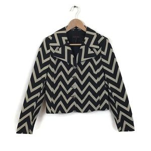 Escada Jacket Black Zip Zag Chevron Blazer 36